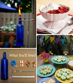 Blue bottle DIY tiki torches? Yes, please!