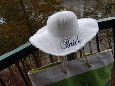 Bridal Shower, Bride Floppy Hat, Beach Wedding, Bachelorette Party auf Etsy, 36,16€