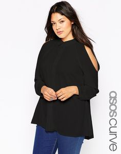 1ad5d5cf008 Plus size top by ASOS CURVE Semi-sheer chiffon Point collar Button placket  through front Cold-shoulder styling Regular fit - true to size Machine wash  ...