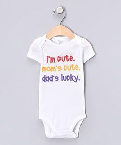 MyLucysLoft White & Purple 'Dad's Lucky' Bodysuit - Infant by MyLucysLoft #zulily #zulilyfinds