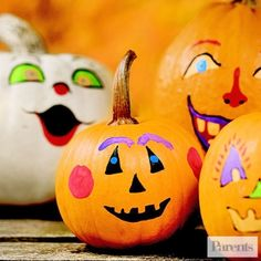 Set up an outdoor painting station so kids can add funny faces to their gourds. Let them use both sides of the pumpkin to get creative. Your children are bound to come up with some unique designs this Halloween.