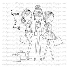 Love To Shop by alldressedupstamps on Etsy, £3.00