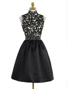 Short Black High Neck Lace Homecoming Cocktail Prom Dresses Party Evening  Gowns 99602530 Aranyos Ruhák 8d437f5795