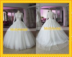 Hot Sale Off the shoulder Long Sleeve Lace Ball Gown Wedding Bridal Dresses Gown Tulle Court Train Pleated Wedding Dress