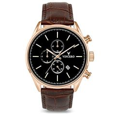 Men's Luxury Chrono S Chronograph Watch Mocha Brown Croc Italian Leather Strap Band Black Watch Face Rose Gold Case Clasp Brown Leather Watch, Leather Watch Bands, Montres Hugo Boss, Cartier, Skeleton Watches, Swiss Army Watches, Expensive Watches, Affordable Watches, Bracelet Cuir