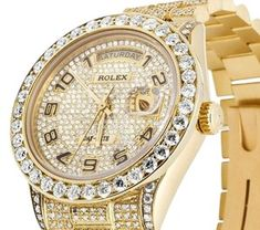 Rolex Gold W President Day-date Yellow 18038 W/Diamond Dial & Bezel Watch - Tradesy Rolex Watches For Men, Luxury Watches For Men, Cool Watches, Diamond Rolex, Diamond Watches, Most Beautiful Watches, Rolex Presidential, Thick Gold Chain, Gold Grill