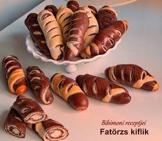 Fatörzs kiflik   Bibimoni Receptjei Hot Dogs, Sausage, Bakery, Food And Drink, Meat, Ethnic Recipes, Bakery Recipes, Bakery Shops, Sausages