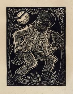 Brian Reedy ~ Wolfman ~ Woodcut, Rice Paper, 9 x 12 inch