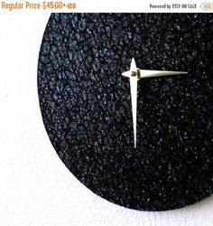 Sale, Black Glitter Clock, Home and Living, Minimalist Clock, Home Decor, Decor and Housewares, Unique Wall Clocks by Shannybeebo on Etsy https://www.etsy.com/listing/108633803/sale-black-glitter-clock-home-and-living