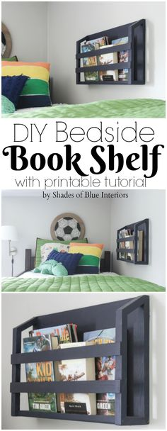 DIY Bedside Book Shelf How to build a bedside book shelf that adds storage and organization for books and magazines. Wall-mounted so it is ideal of small spaces like top bunk beds - DIY Bedside Book Shelf Diy Room Decor For Teens, Boys Room Decor, Kids Bedroom, Bedroom Ideas, Bedroom Decor, Bedroom Wall, Bunk Bed Decor, Bedroom Lighting, Girls Bookshelf