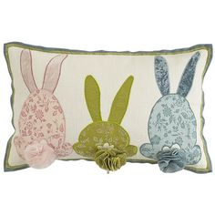 Celebrate spring with our delightful bunny pillow, a fun mix of color, appliques and fabric embellishments. It might be just the thing to get your house hopping.