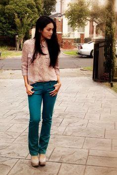 teal pants - beige shirt