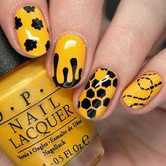 Top 150 ideas for Yellow Nail art designs - Reny styles Yellow Nails Design, Yellow Nail Art, Nail Designs Spring, Nail Art Designs, Design Art, Bumble Bee Nails, Hair And Nails, My Nails, Art Jaune