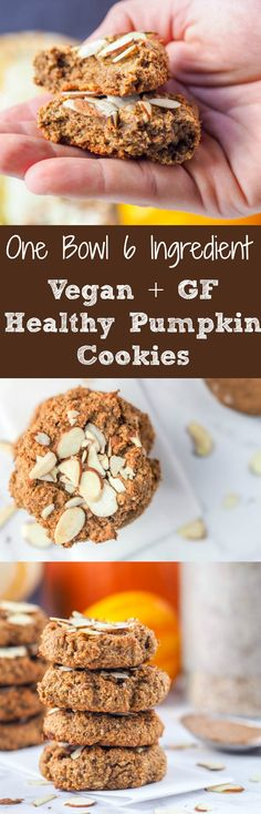 Hearty and healthy pumpkin cookies make for a perfect high protein on the go breakfast or guilt free dessert. A 1 bowl 6 ingredient 30 minute recipe. Made with pumpkin puree, maple syrup, almond butter, protein powder, almond flour and fall spices. Vegan, gluten free and refined sugar free. | avocadopesto.com