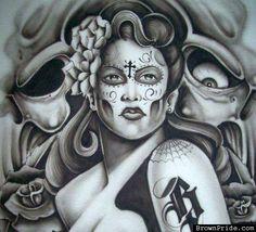 Brown Pride / Chicano Art Chicano Love, Chicano Art Tattoos, Cholo Art, Cholo Style, Latino Art, Prison Art, Lowrider Art, Brown Pride, Day Of The Dead Art