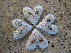 White Felt Cat Heart Christmas Ornament by Ornamentmental on Etsy
