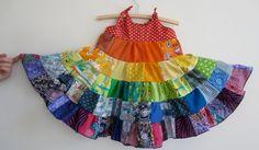 Toddler girl rainbow dress patchwork twirler by BananaOrangeApple