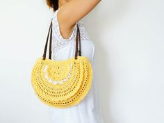 Yellow summer bag Handbag Celebrity Style With by Sudrishta, $80.00