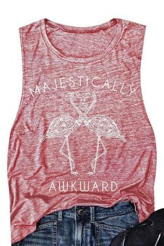 9eb37fc754c Majestically Awkward Flamingo Design Tank Top for Women. On sale now. Free  shipping.