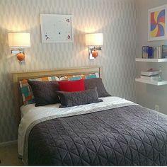 A DIY stenciled accent wall in a gray bedroom using the Prism Allover Stencil. http://www.cuttingedgestencils.com/prism-stencil-geometric-wall-pattern.html?utm_source=JCG&utm_medium=Pinterest&utm_campaign=Prism%20Allover%20Stencil%20Pattern