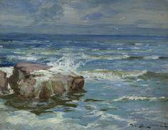 Vagues sur Roches de William Bradley Lamond (1857-1924, United Kingdom)