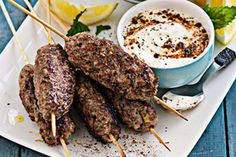 These are like little homemade sausages on a stick. The salad is light and fresh – a perfect balance for the koftas.