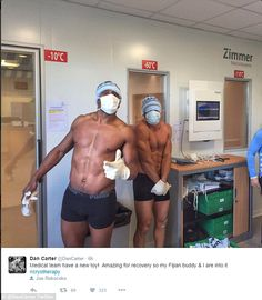 All Blacks legend Dan Carter (right) seems more apprehensive than Racing 92 rugby team-mate Joe Rokocoko as they prepare to be treated for bumps and bruises inside the Cryotherapy chamber