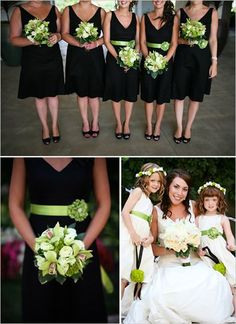 What about plum dresses? Love the colored sashes with the black dresses - and the coordinated flowers.