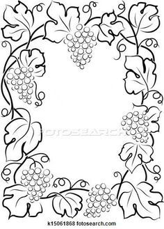 Illustration of black calligraphy frame wine label vine grapes Cross Stitch Embroidery, Embroidery Patterns, Hand Embroidery, Fabric Painting, Painting Frames, Colouring Pages, Coloring Books, Metal Embossing, Wood Burning Patterns