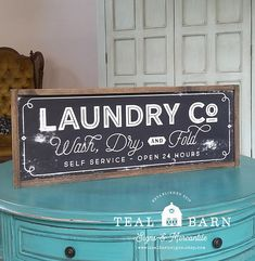 Laundry Co Wash Dry and Fold Sign  Farmhouse Magnolia Fixer