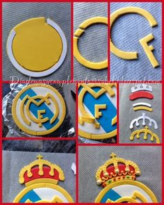 Ideas Birthday Cupcakes For Boyfriend Fondant Cake Decorating With Fondant, Fondant Decorations, Cake Decorating Tutorials, Bolo Real Madrid, Real Madrid Logo, Fondant Toppers, Fondant Cakes, Cupcake Cakes, Sport Cakes
