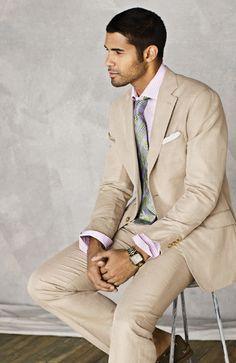 Khaki Linen Blend Solid Suit $520; Lavender/White Graph Stripe; Glass Plaid Tie