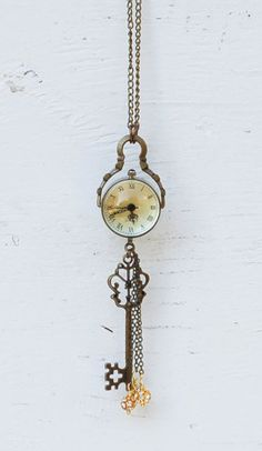 Enchanted WATCH Orb Steam Punk Clock Necklace