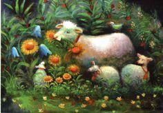Raija Nokkala ~ very cute sheep House Illustration, Illustrations, Sheep Art, Cute Sheep, Tove Jansson, Lord Is My Shepherd, Sheep And Lamb, Little Critter, Pastel Art