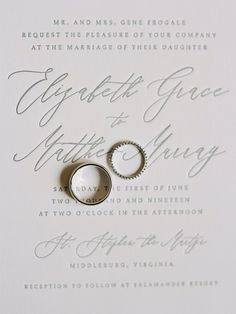 Calligraphy Wedding Invitation and Wedding Bands at Modern Clear Tent Outdoor Summer Wedding at The Salamander Resort & Spa in Middleburg, Virginia with DC & Destination Film Wedding Photographer, Renee Hollingshead and Ida Rose Events, Sweet Root Village, Tara Lauren, The Bridal Room VA, Makeup by Ana B, White Glove Rentals, Capital Party Rentals, Emily Baird Design and more as seen on Carats & Cake Wedding Rentals, Wedding Venues, Wedding Signs, Cake Wedding, Gold Wedding, Summer Wedding, Floral Invitation, Invitation Suite, Engagement Ring Photos