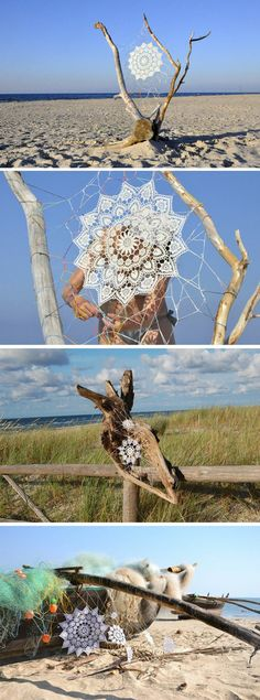 Have you ever seen more beautiful spider webs? These are from an artist named NeSpoon. This is such a lovely piece of outdoor art!