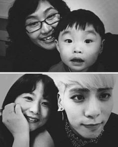 Jonghyun with hus Mom then and now.. so sweet of him