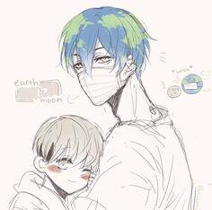 Earth and Moon- humanized/ anime version/ gijinka Cartoon As Anime, Anime Guys, Manga Anime, Anime Art, Space Anime, Anime Galaxy, Anime Version, Fanarts Anime, Fujoshi