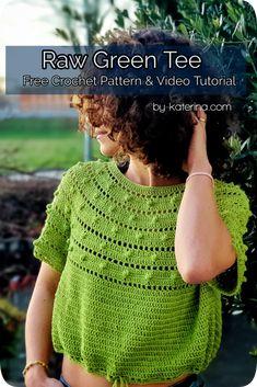 Raw Green Tee Door ByKaterina - Gratis Haakpatroon - (by-katerina) Crochet Tunic Pattern, Crochet Yoke, Crochet Cardigan, Crochet Patterns, Freeform Crochet, Crochet Summer Tops, Crochet Baby Clothes, Crochet Dresses, Baby Cardigan