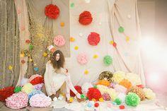 I took photos for The Pom pom Factory. The pom pom Factory world Paper Pom Poms, Tissue Paper, Tissue Poms, Crepe Paper, Wedding Reception Backdrop, Wedding Backdrops, Deco Originale, Festa Party, Party Party