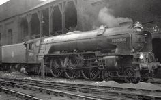 https://flic.kr/p/raBx6T | Leeds. Copley Hill Shed. 1951. | At the time, this locomotives home shed, and only the second of its class to be named, in April 1950. In 1915 the racehorse 'Pommern' won the '2000 guineas' the 'St Ledger' and the 'Derby'. The engine carries the 'The Harrogate Sunday Pullman' headboard, a title first introduced in April 1928, but withdrawn at the outbreak of war in 1939, it was the only titled train to run on one day of the week only, either before or after the…
