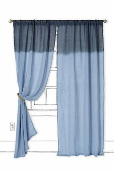 anthropologie ombre waves curtain, in lemon