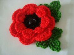 lovely crochet red poppy flower brooch |
