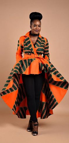 Tangerine High low Dress Jacket. Get Noticed in This statement Jacket, a must have piece. African print Dress Jacket with shoulder pads. Ankara | Dutch wax | Kente | Kitenge | Dashiki | African print bomber jacket | African fashion | Ankara bomber jacket | African prints | Nigerian style | Ghanaian fashion | Senegal fashion | Kenya fashion | Nigerian fashion | Ankara crop top (affiliate)