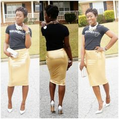 #churchgirlswag by @vikvarwoo  Destylishbehavior gold pencil skirt #pinnerssewing #pinnersstyle Delecia D