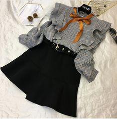 The top Korean Girl Fashion, Look Fashion, Cute Fashion, Kids Fashion, Girls Fashion Clothes, Teen Fashion Outfits, Kids Outfits, Fashion Dresses, Stylish Dresses For Girls