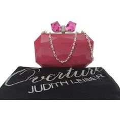 Pre-owned Judith Leiber Overture Danielle Faceted With Bow Minaudiere... ($201) ❤ liked on Polyvore featuring bags, handbags, clutches, pink, pink handbags, pink leather purse, pink leather handbag, genuine leather purse and metallic leather handbags