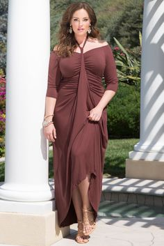 Kiyonna's plus size Divine Draped Maxi Dress has it all: off the shoulder, adjustable 3/4 sleeves, a ruched waist and gathers galore. Browse our entire collection of made in the USA styles at www.kiyonna.com. #kiyonna #bodypositivity