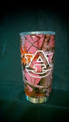 20 oz Auburn YETI Rambler in VISTA over pink.   www.illusionscc.com thomas@illusionsc... #wareagle #secfootball #hydrographics #yeti #yetination #coolerthanyou #auburn