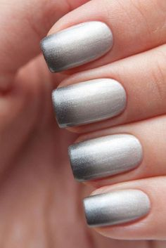 Silver and white Ombre nail art